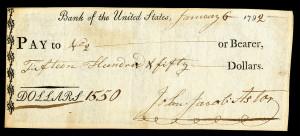 Angekommen: ein von Astor unterzeichneter Scheck von 1792, CC-BY-SA National Numismatic Collection at the Smithsonian Institution.