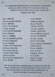 Gedenktafel für die deutschen und österreichischen Flüchtlinge am Fremdenverkehrsbüro von Sanary-sur-Mer, ursprünglich enthüllt am 18. September 1987, Anima, CC BY-SA 3.0